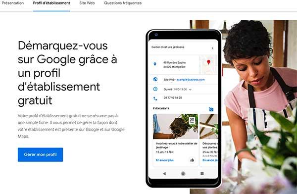 interface de google my business